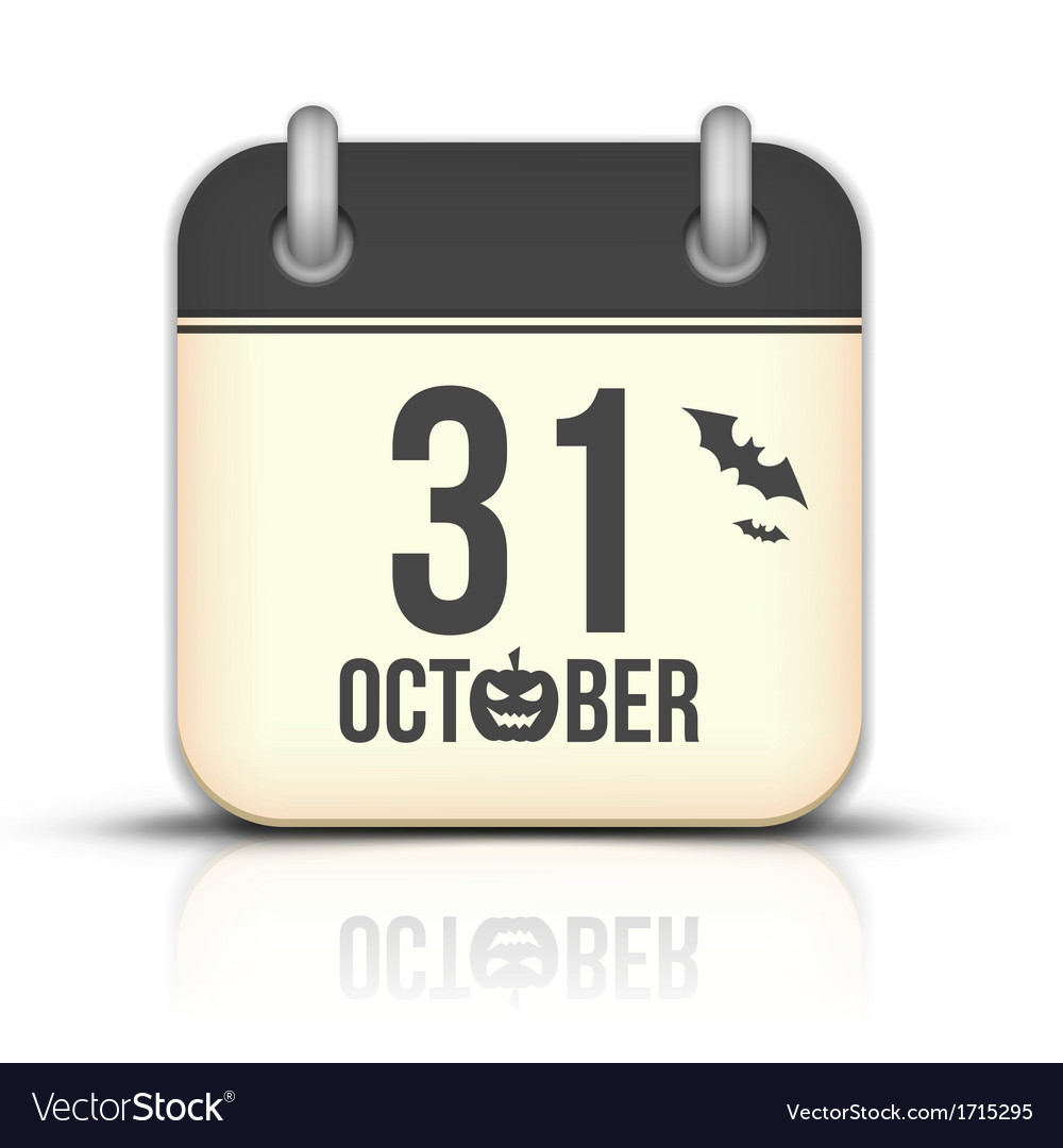 Halloween calendar icon with reflection 31 october vector | Price: 1 Credit (USD $1)