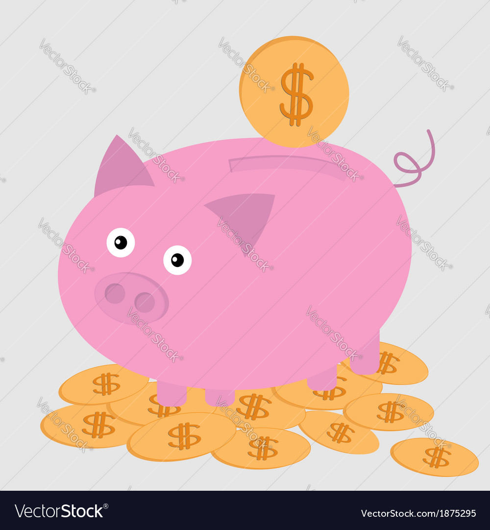 Piggy bank on the dollar coins card vector | Price: 1 Credit (USD $1)