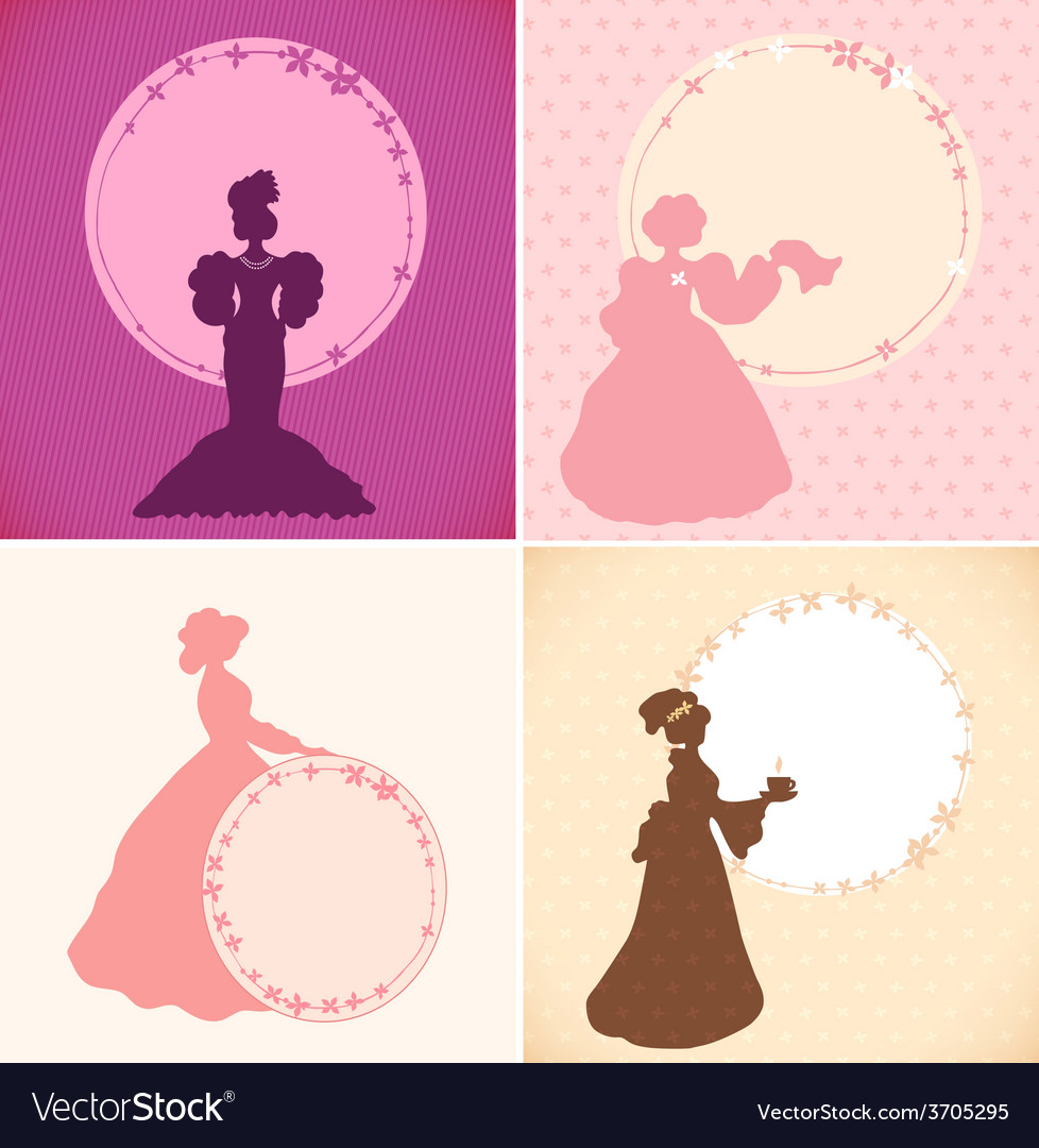 Set of banners with old fashioned woman vector | Price: 1 Credit (USD $1)