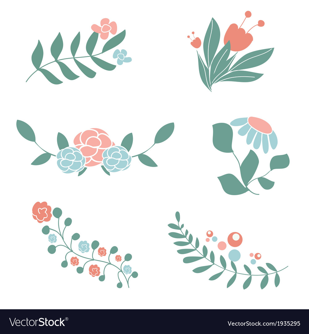 Set of cute floral bouquets and wreaths vector | Price: 1 Credit (USD $1)