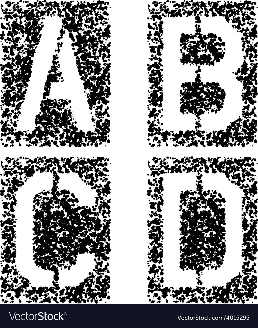 Stencil angular spray font letters a b c d vector | Price: 1 Credit (USD $1)