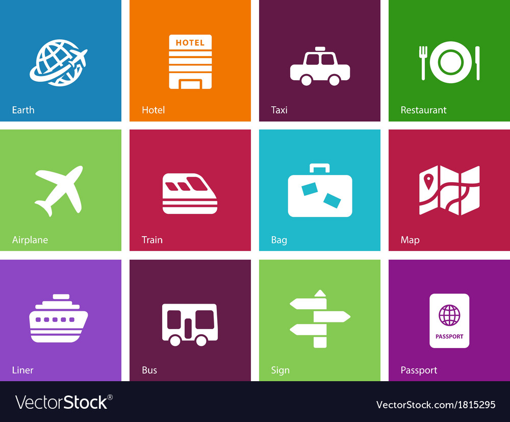 Travel icons on color background vector | Price: 1 Credit (USD $1)