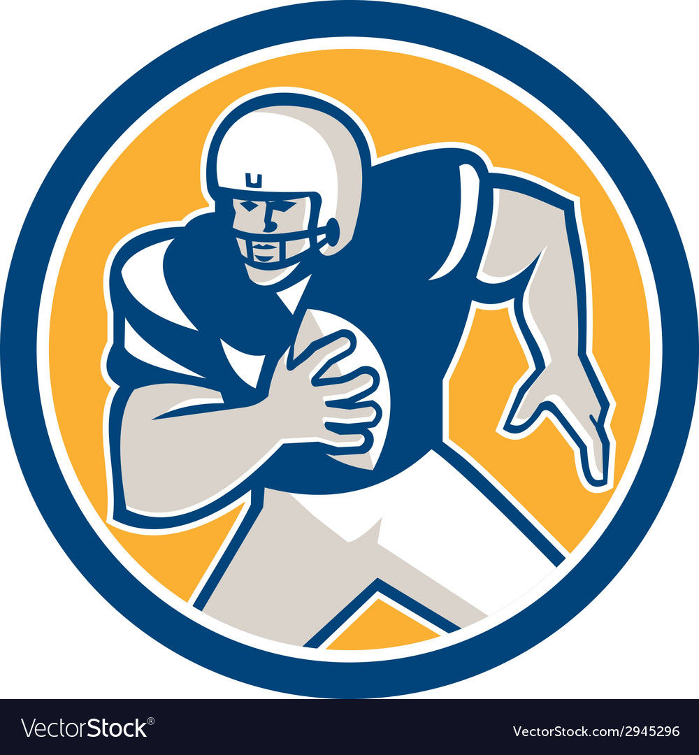 American football qb player running circle retro vector | Price: 1 Credit (USD $1)