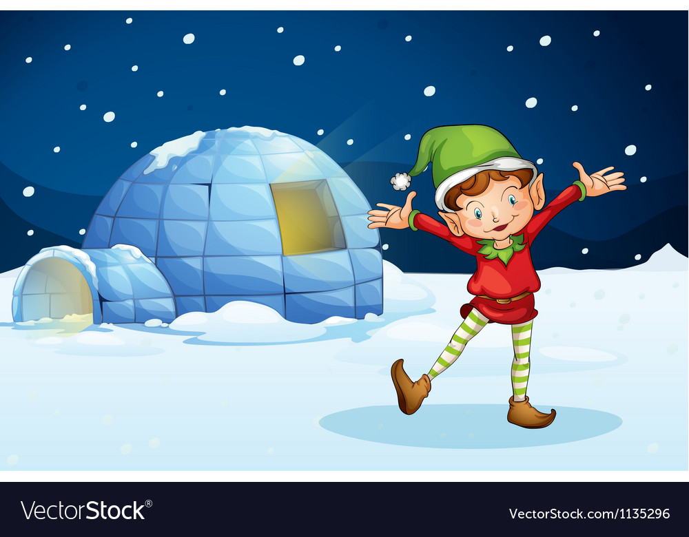 An elf and an igloo vector | Price: 1 Credit (USD $1)
