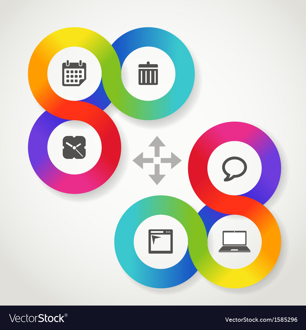 Color circle web interface template with icons vector | Price: 1 Credit (USD $1)