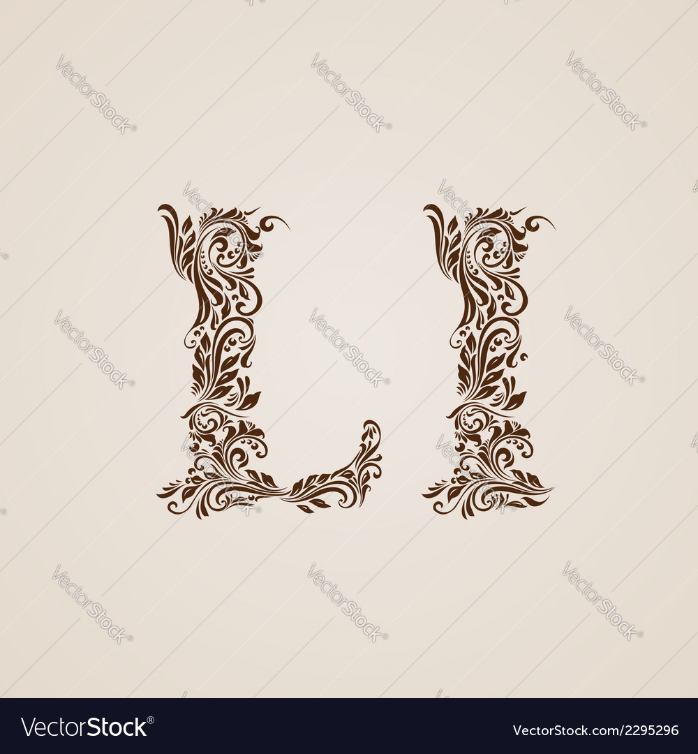 Decorated letter l vector | Price: 1 Credit (USD $1)