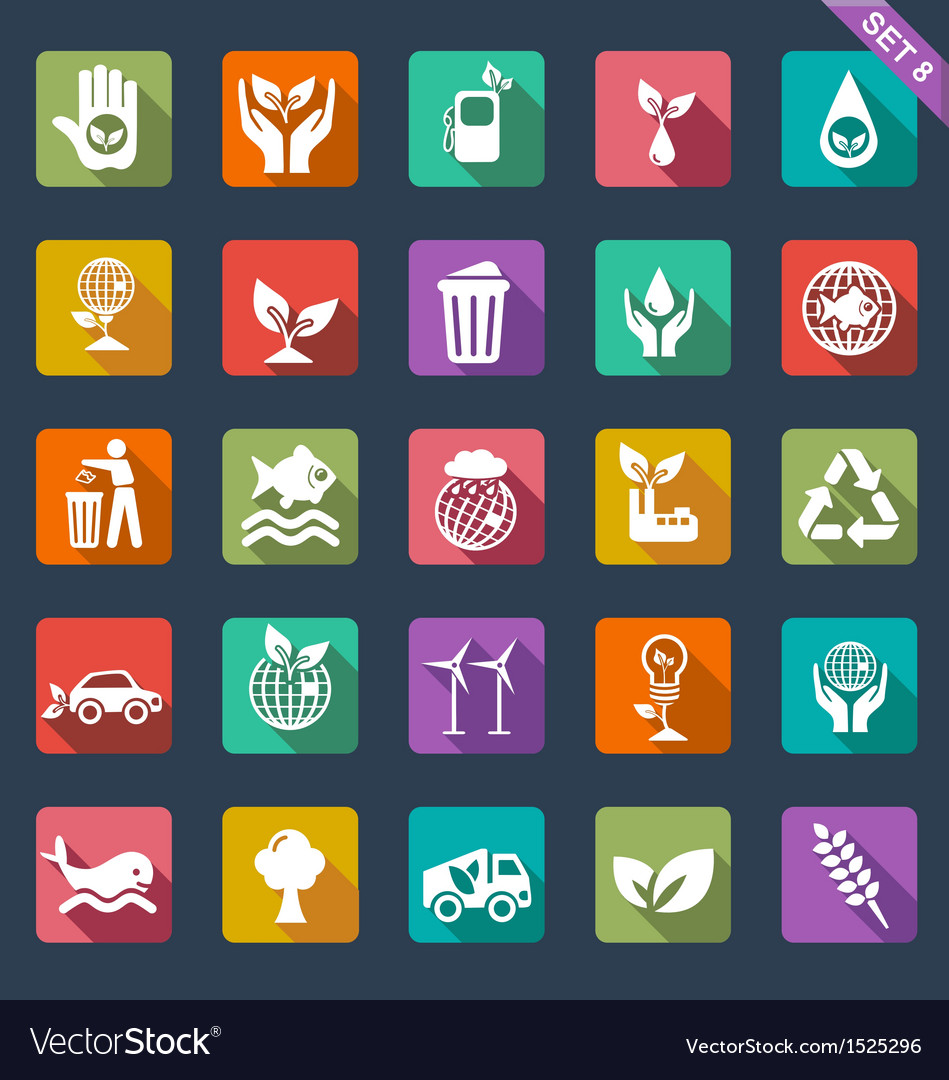 Ecology icon set - flat design vector | Price: 1 Credit (USD $1)