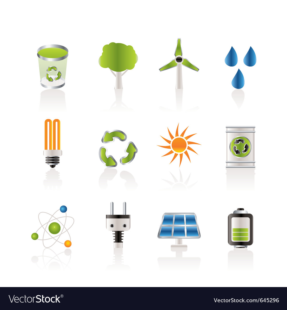 Energy and nature icons vector | Price: 1 Credit (USD $1)