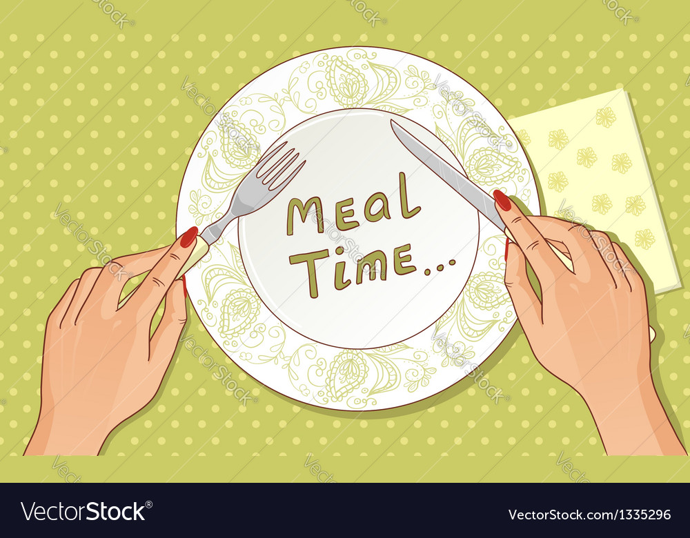 Fork and knife in hands vector | Price: 1 Credit (USD $1)