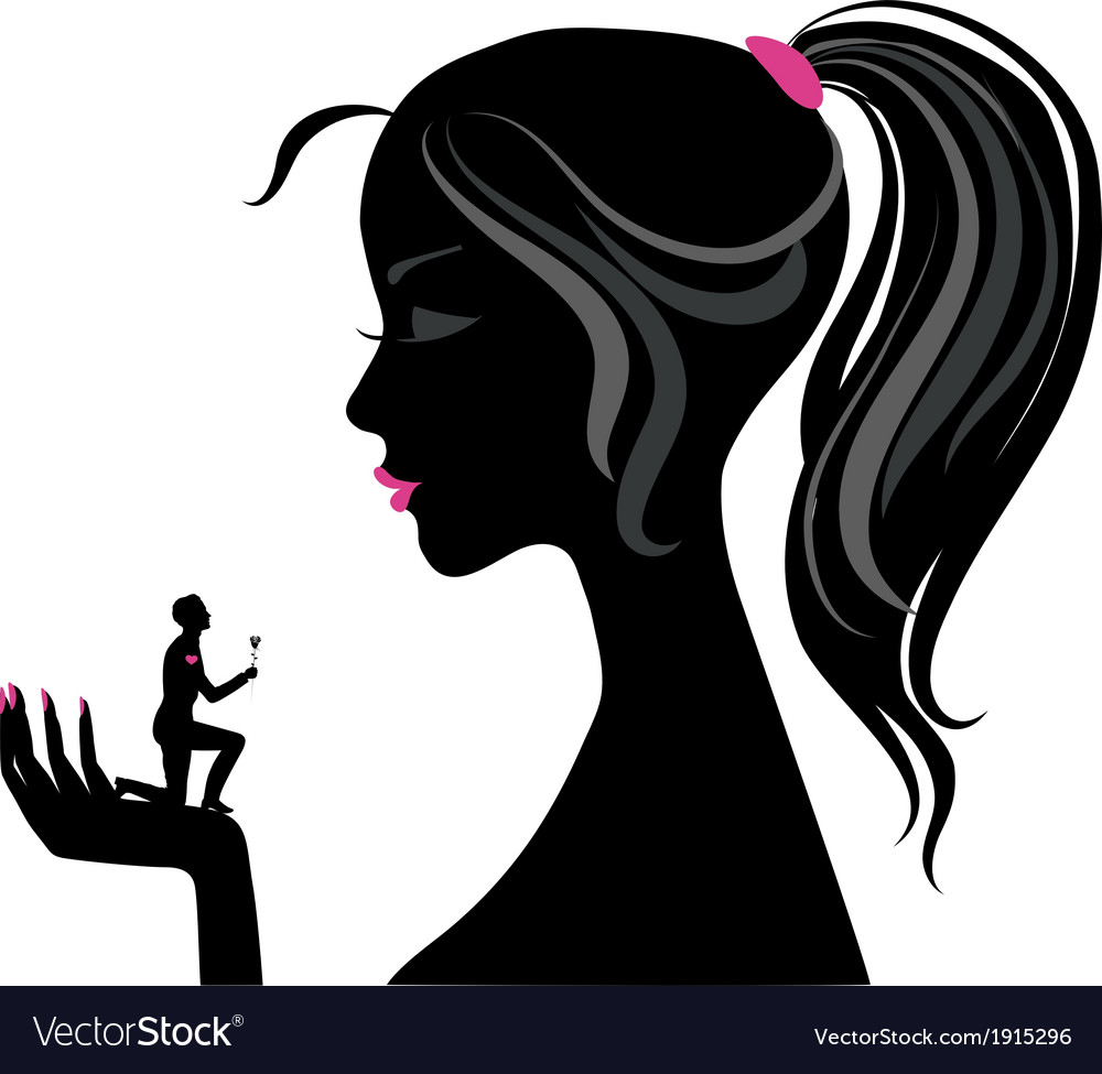 Girl silhouette love vector | Price: 1 Credit (USD $1)
