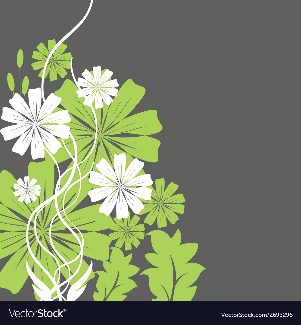 Green and white flowers vector | Price: 1 Credit (USD $1)
