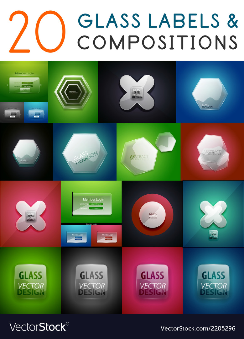 Mega set of glass labels and compositions vector | Price: 1 Credit (USD $1)
