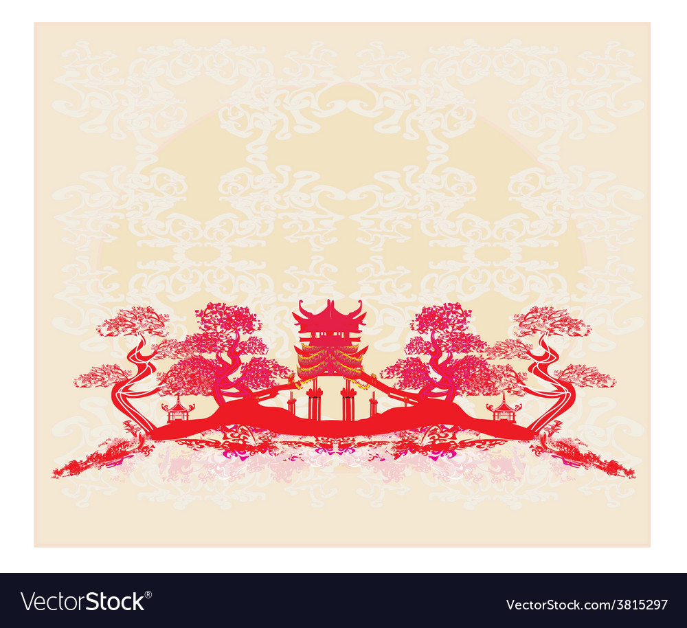 Chinese landscape - abstract ancient buildings vector | Price: 1 Credit (USD $1)