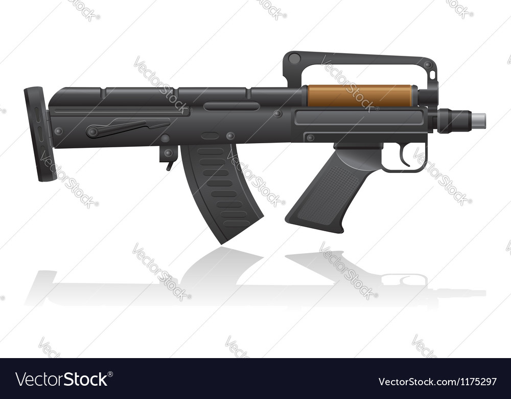 Machine gun with a short barrel vector | Price: 1 Credit (USD $1)