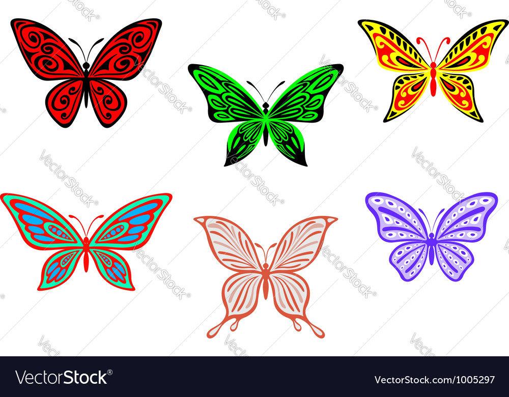 Set of colorful butterflies isolated on white vector | Price: 1 Credit (USD $1)