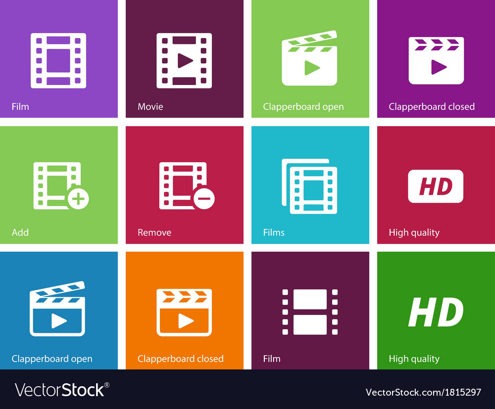 Video icons on color background vector | Price: 1 Credit (USD $1)