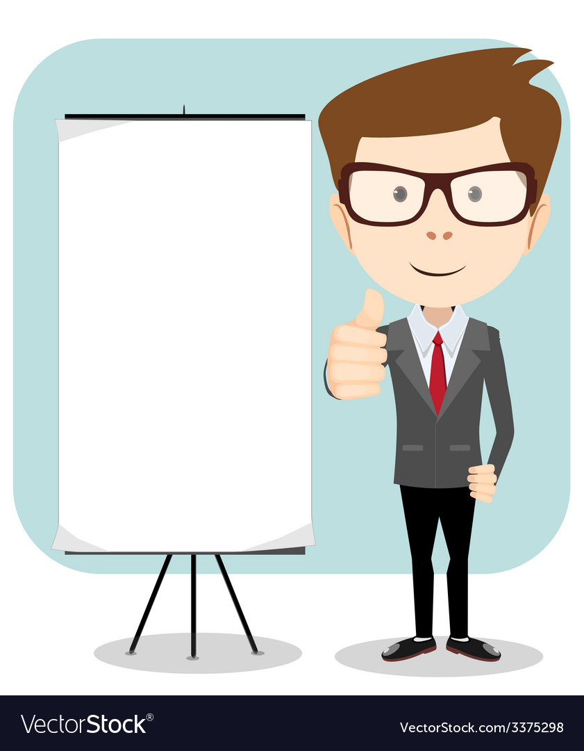 A cartoon businessman holding blank message board vector   Price: 1 Credit (USD $1)