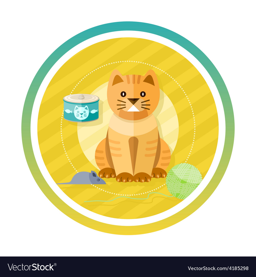 Adorable cat with different toys and elements vector | Price: 1 Credit (USD $1)
