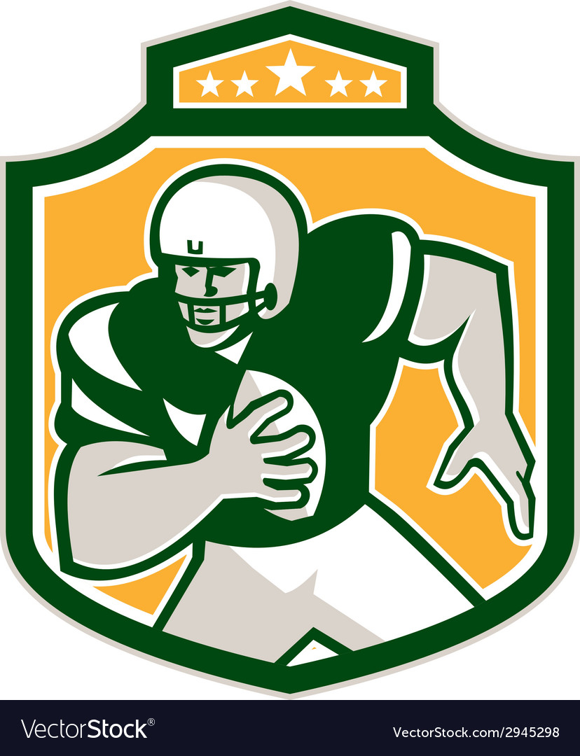 American football qb player running shield retro vector | Price: 1 Credit (USD $1)