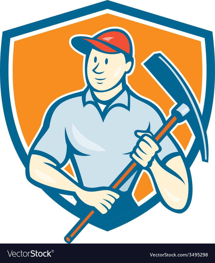 Construction worker holding pickaxe shield cartoon vector | Price: 1 Credit (USD $1)