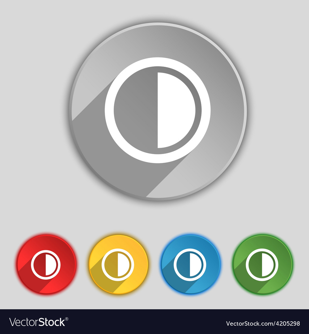 Contrast icon sign symbol on five flat buttons vector | Price: 1 Credit (USD $1)