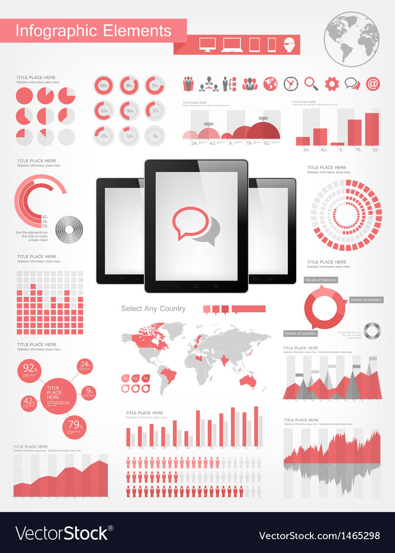 Digital tablets infographic elements vector | Price: 3 Credit (USD $3)