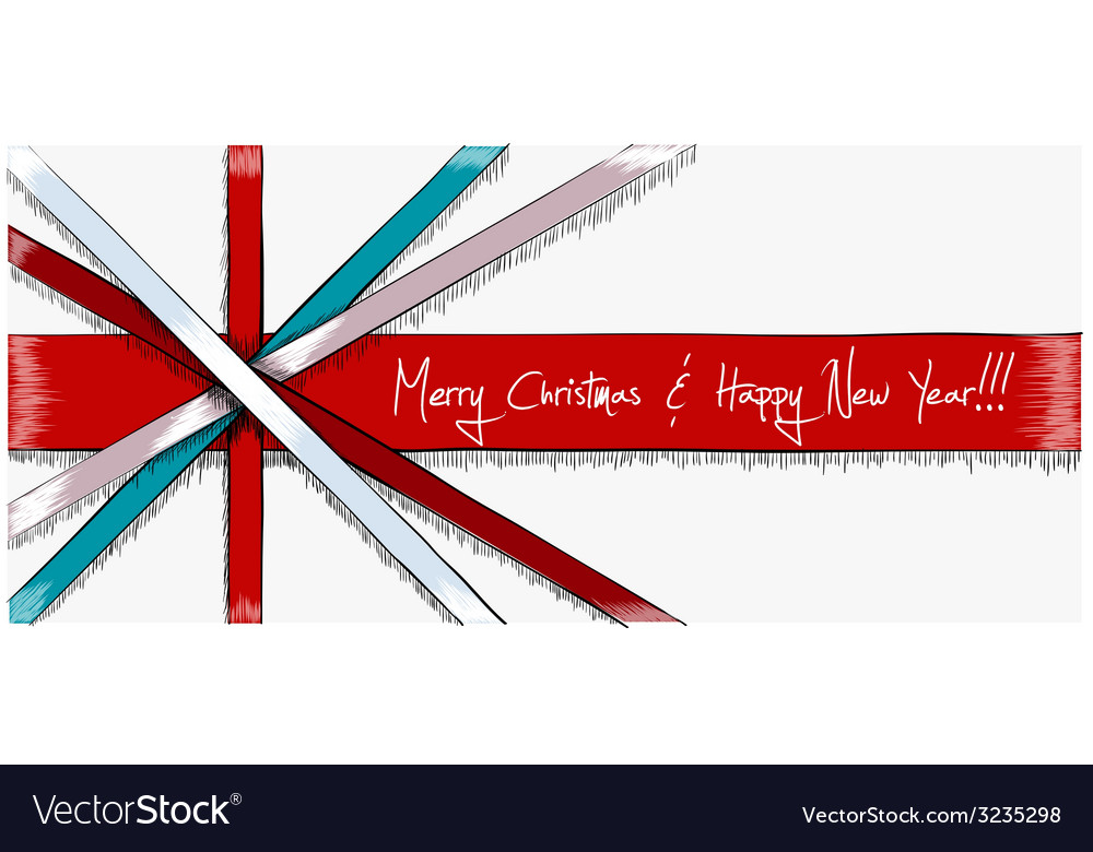 Greeting christmas card drawn in sketch style vector | Price: 1 Credit (USD $1)