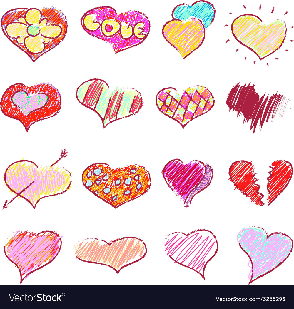 Happy valentines hearts set vector | Price: 1 Credit (USD $1)