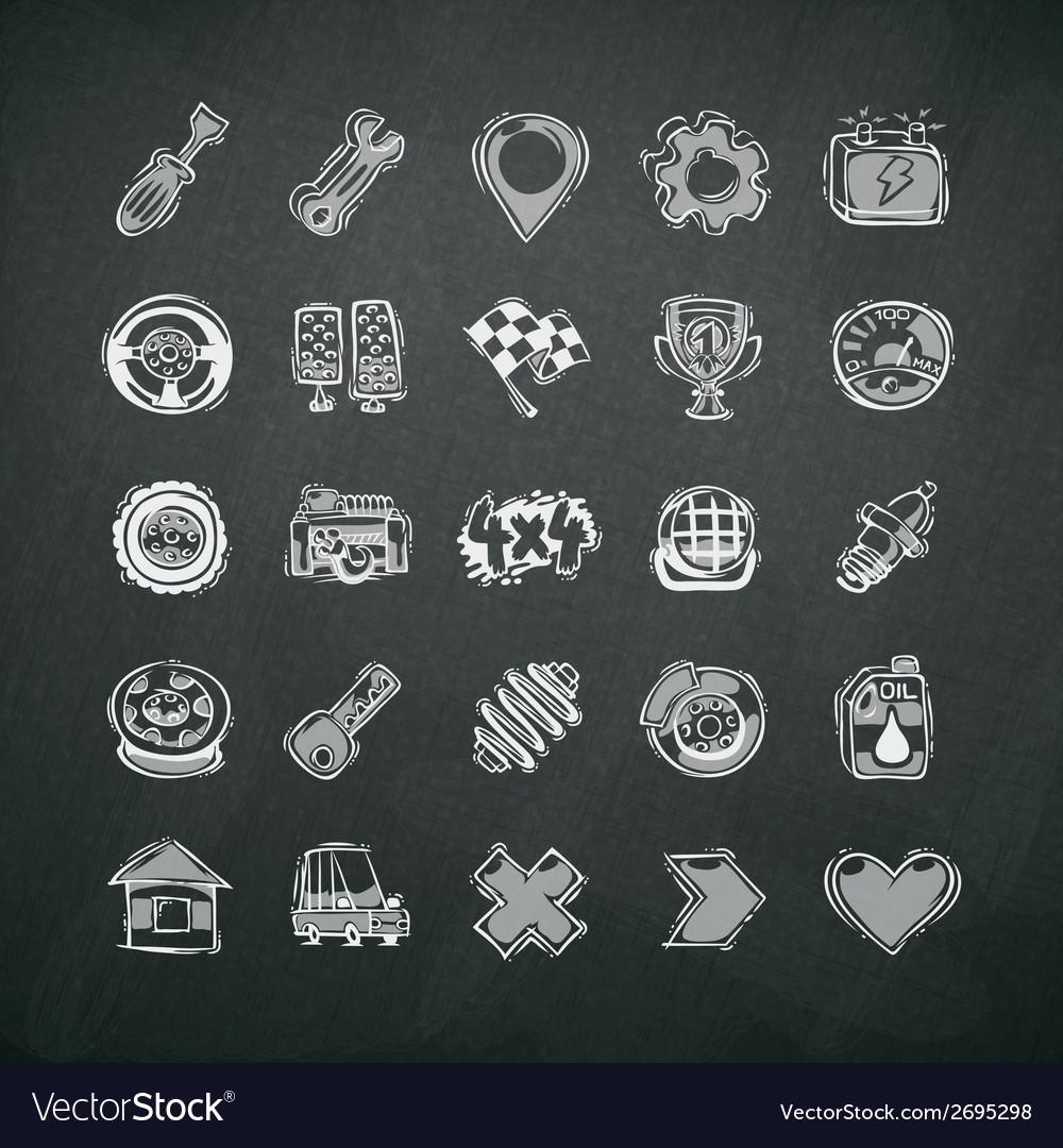 Icons set of car symbols on blackboard vector | Price: 1 Credit (USD $1)