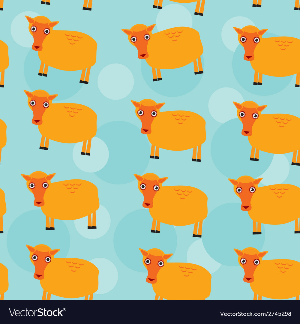 Seamless pattern with funny cute sheep animal on a vector | Price: 1 Credit (USD $1)