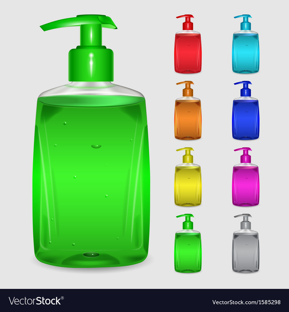 Set of multicolored bottles of liquid soap vector | Price: 1 Credit (USD $1)