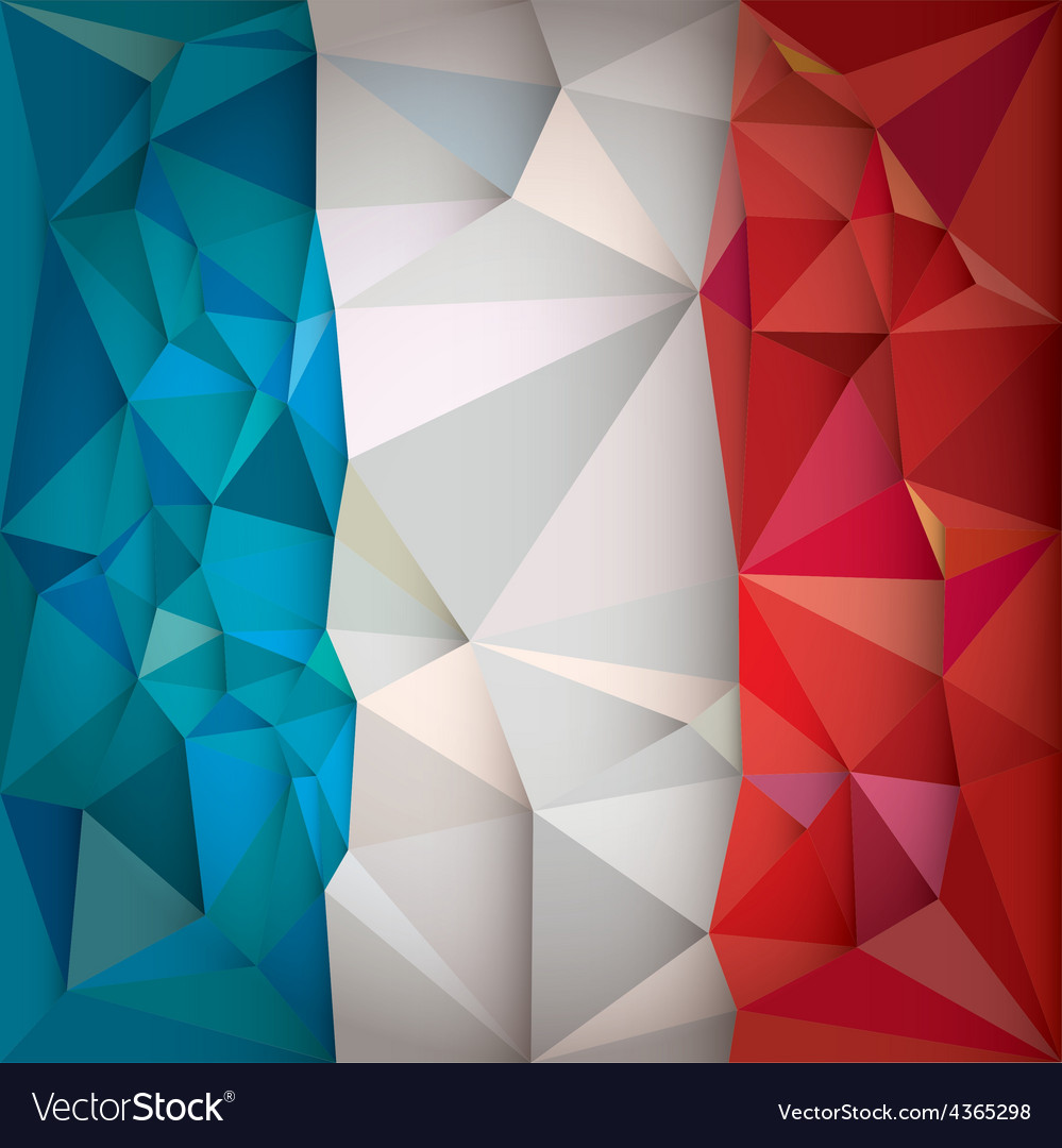 Stylized flag of france low poly style vector | Price: 1 Credit (USD $1)