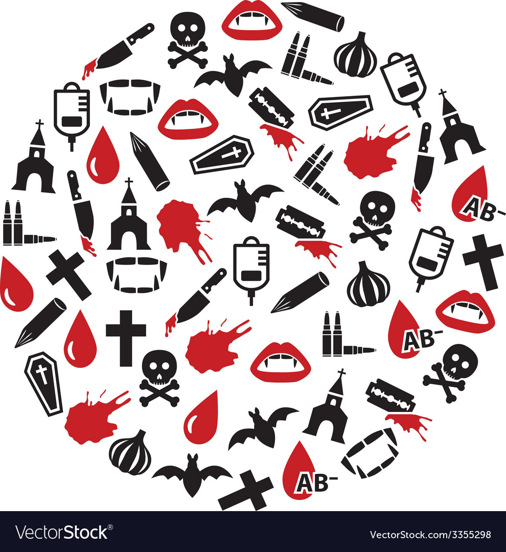 Vampire icons in circle vector | Price: 1 Credit (USD $1)