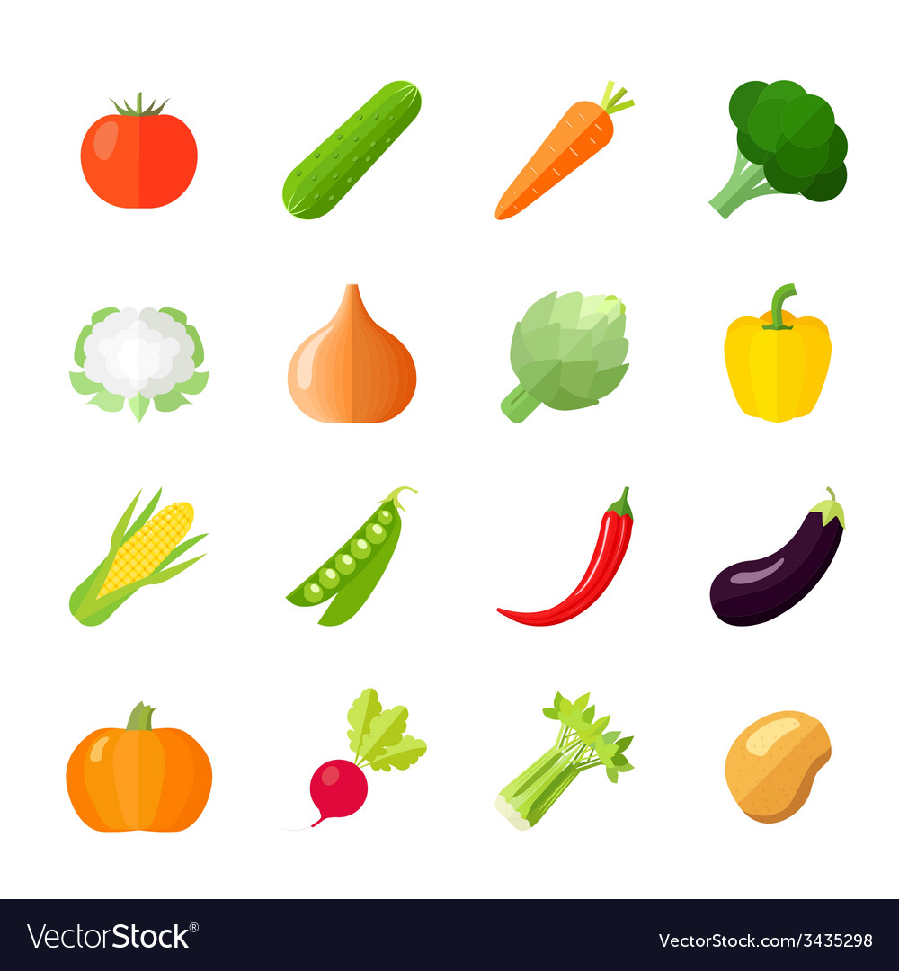 Vegetables icons flat vector | Price: 1 Credit (USD $1)