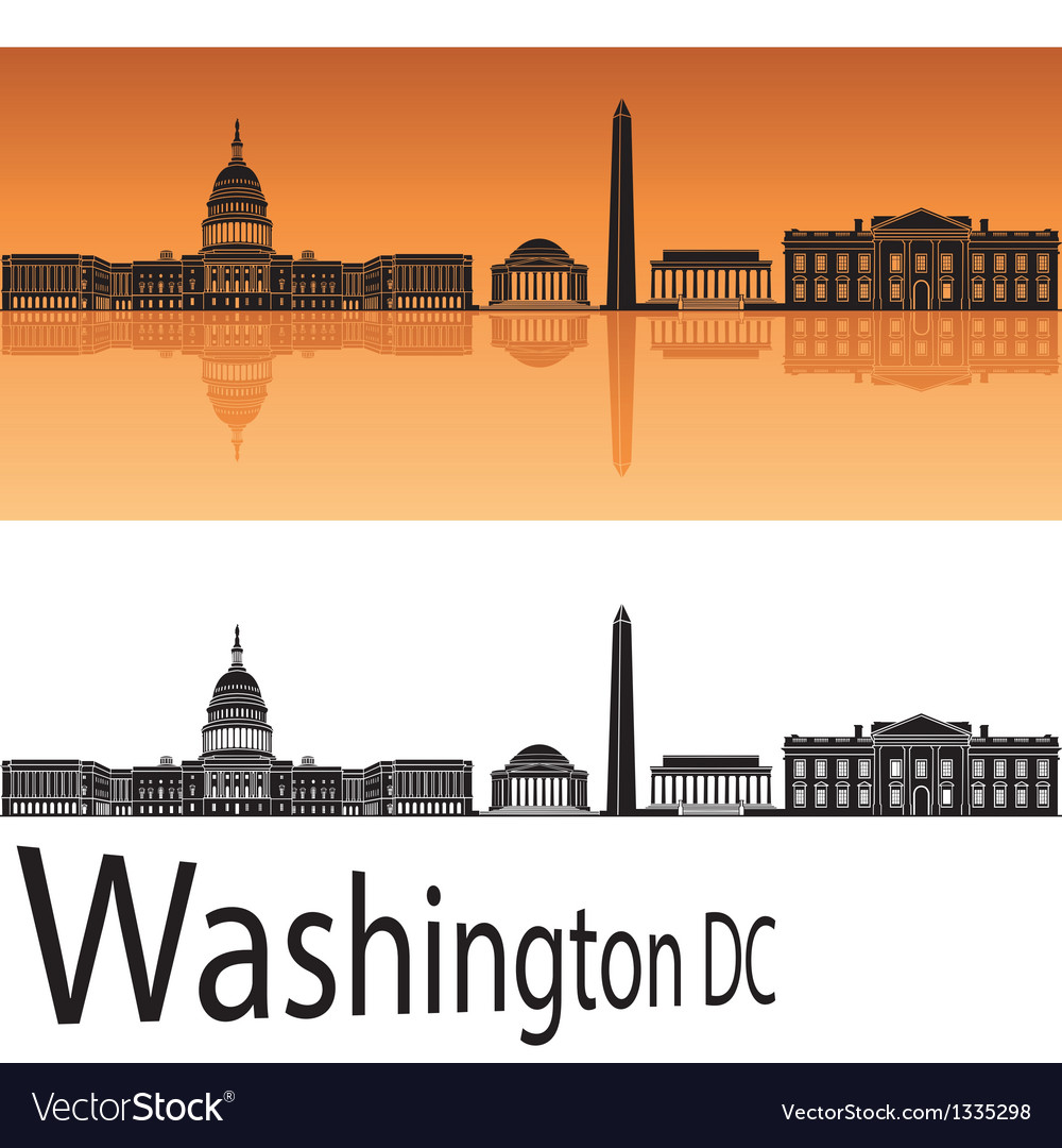 Washington dc skyline in orange background vector | Price: 1 Credit (USD $1)