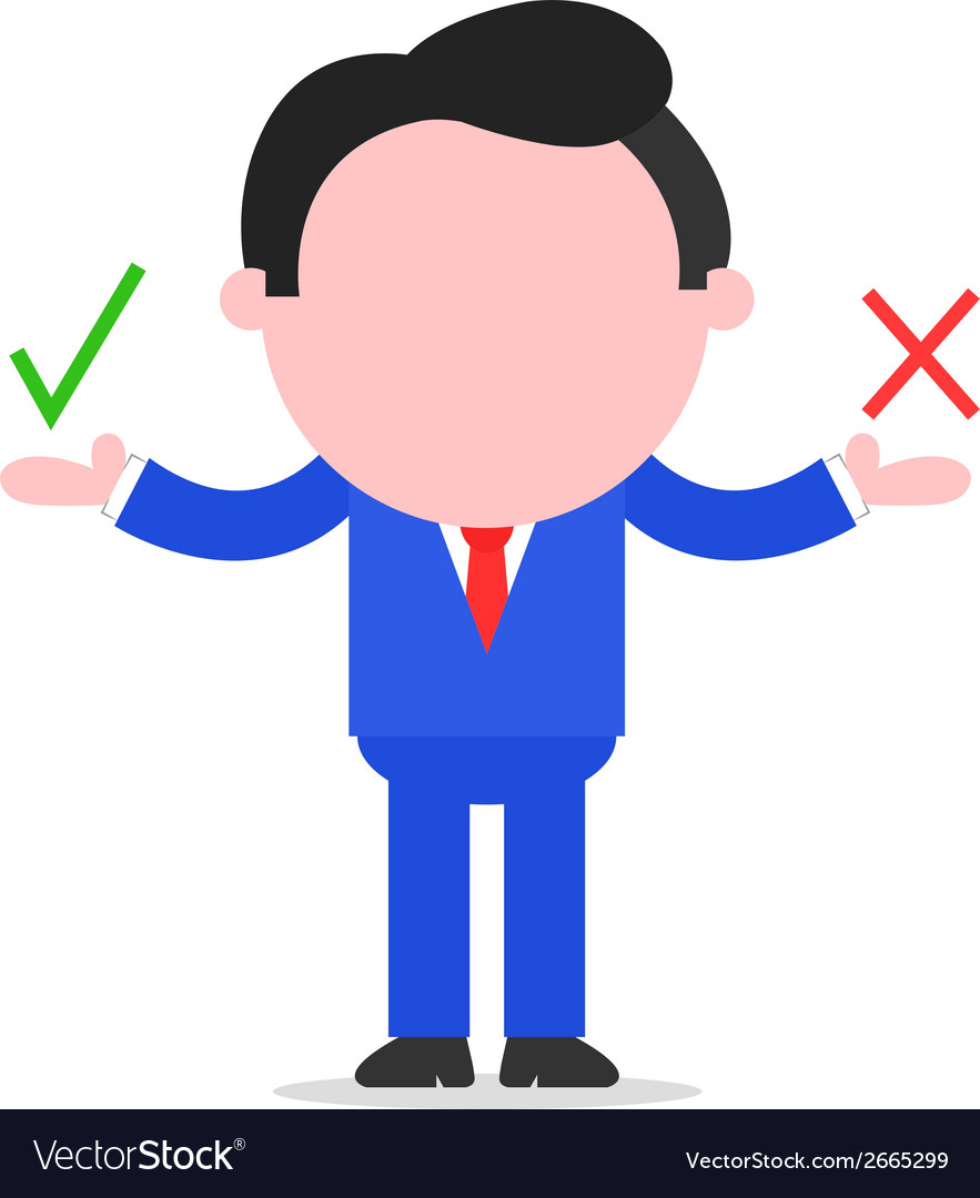 Businessman holding check and x vector | Price: 1 Credit (USD $1)