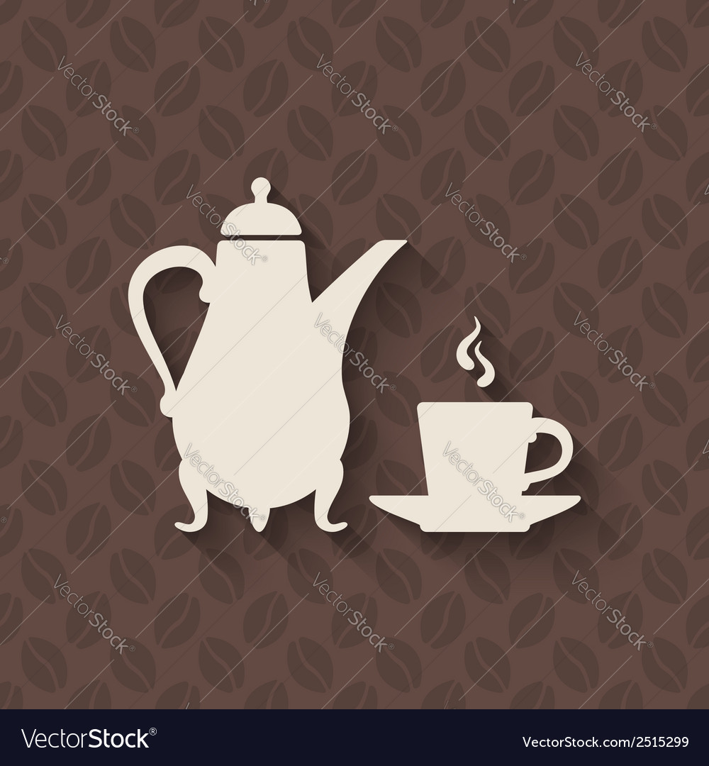 Coffee pot and cup on seamless background vector | Price: 1 Credit (USD $1)