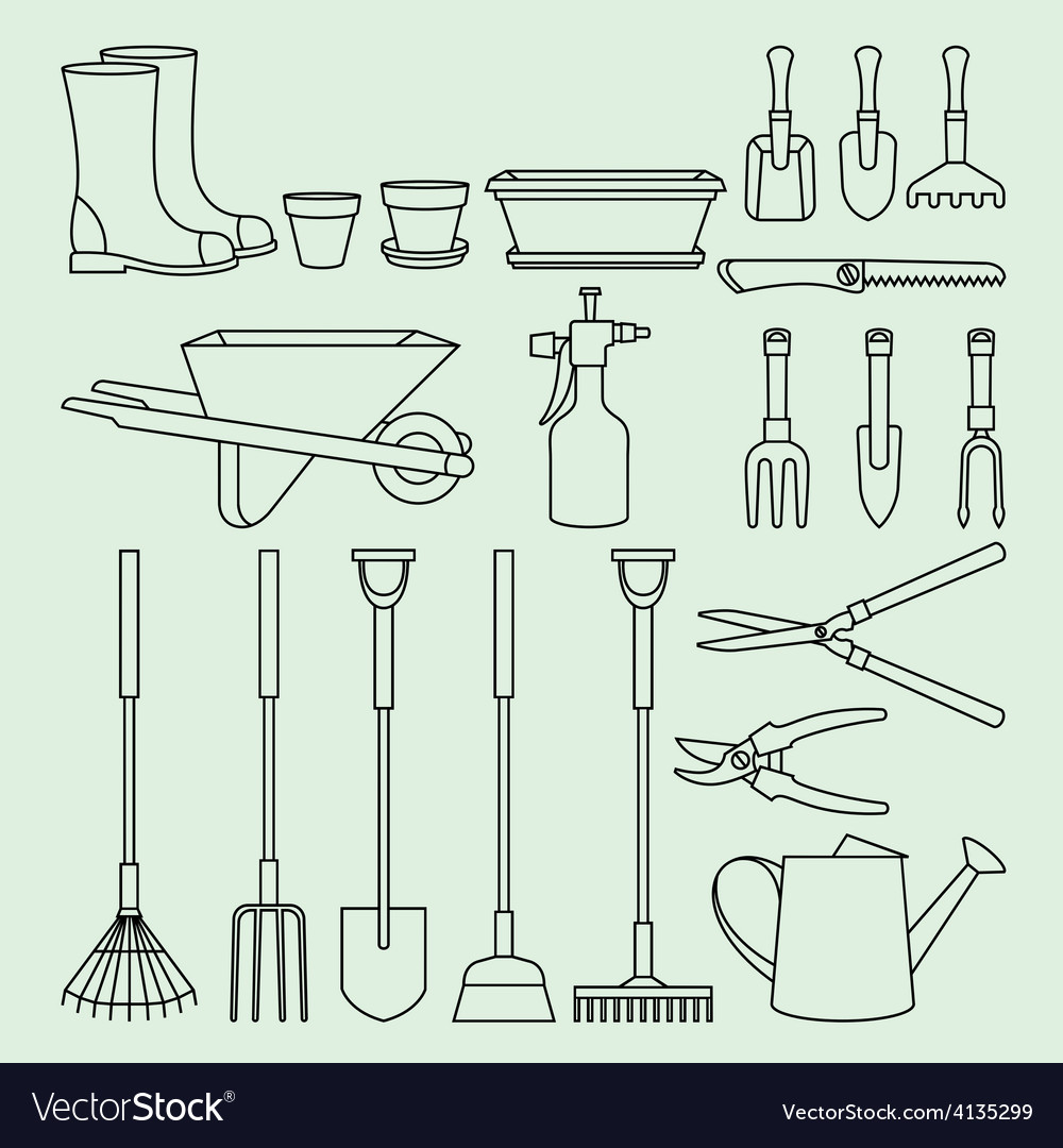 Linear set of garden tools and access vector | Price: 1 Credit (USD $1)