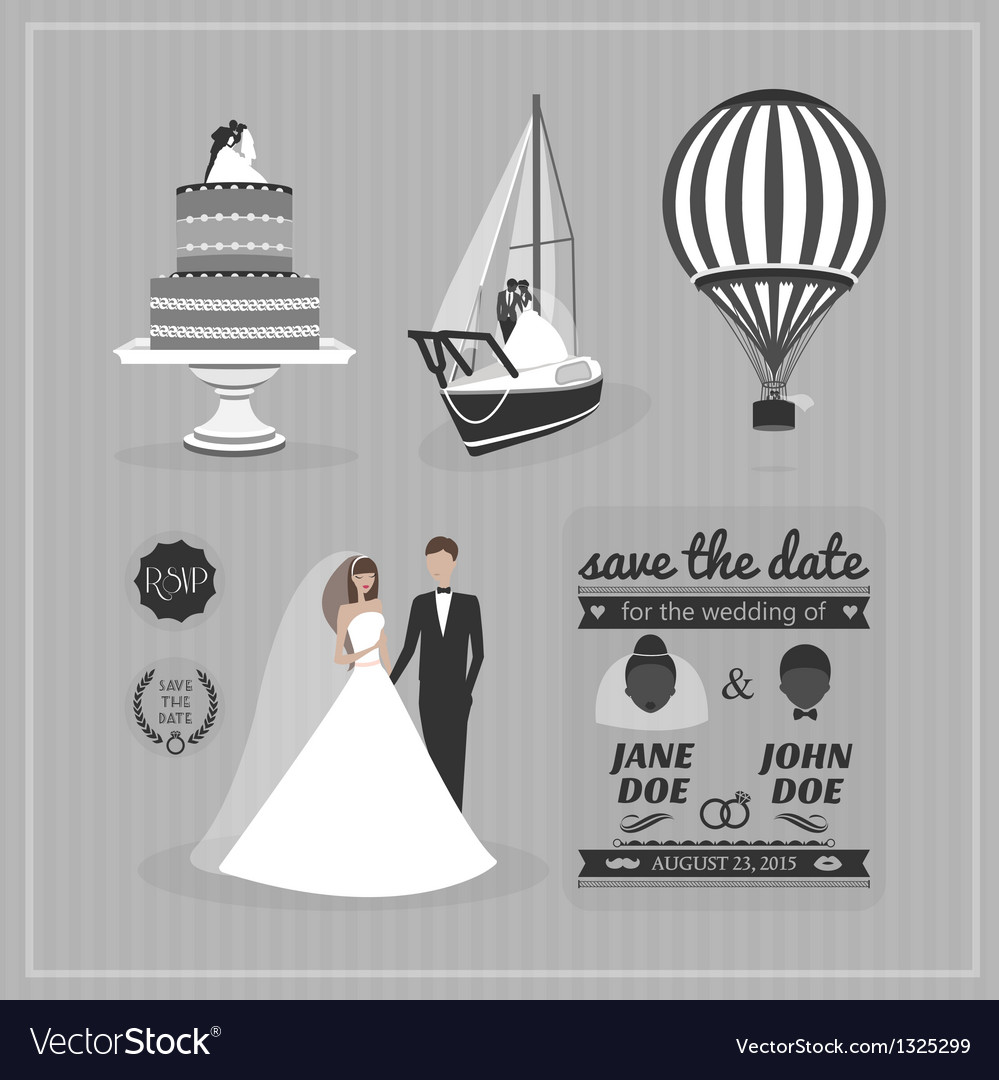 Set of wedding design elements vector | Price: 1 Credit (USD $1)