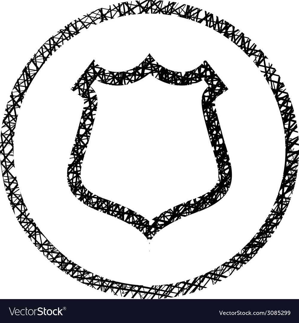 Shield simple icon with hand drawn lines texture vector | Price: 1 Credit (USD $1)