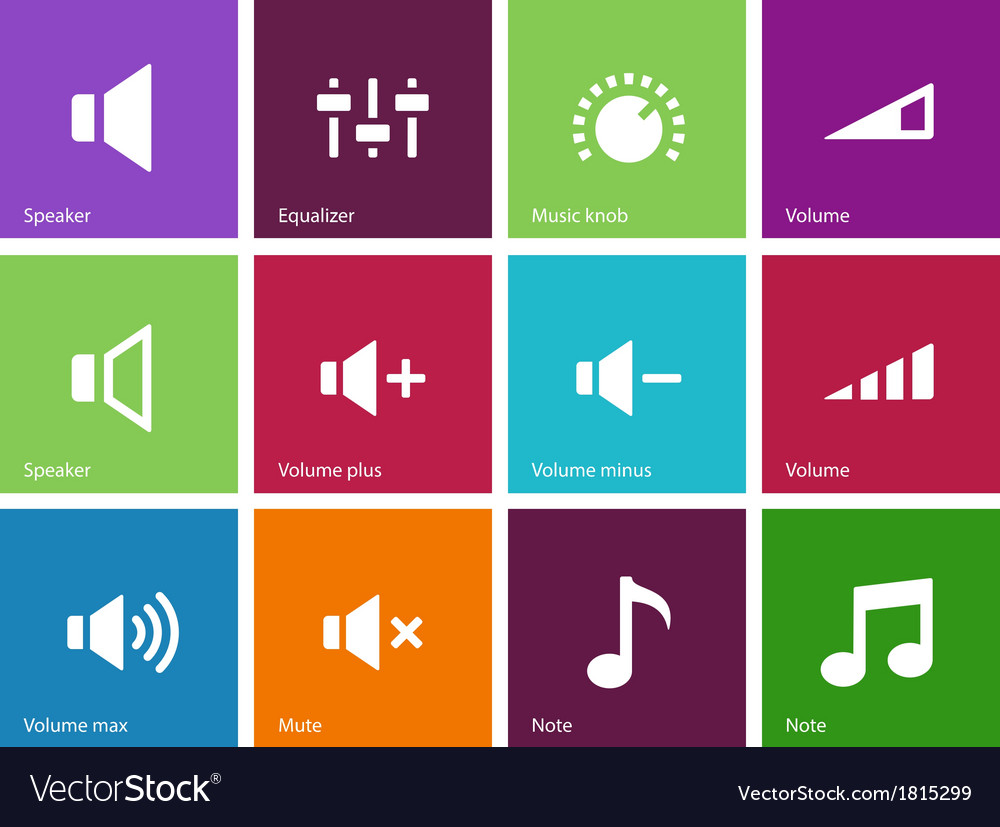 Speaker icons on color background volume control vector | Price: 1 Credit (USD $1)