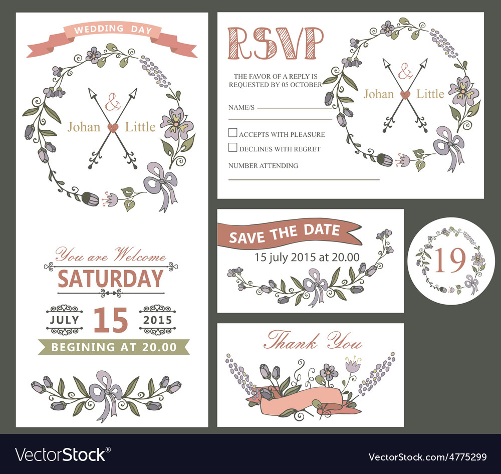 Vintage wedding design template set with flowers vector | Price: 1 Credit (USD $1)