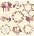 Retro floral wreath and flower bouquet collection vector