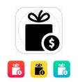 Gift with price tag icon vector