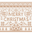 Knitting pattern with merry christmas vector