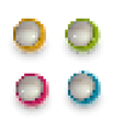 Pixel techno balls icon green orange pink and blue vector