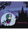 Halloween invitation with beautiful witch and vector