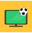 Football soccer ball flying from tv set orange vector