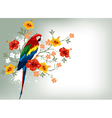 Bright parrots sitting on a branch vector