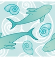 Seamless background with sharks vector